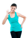 Happy Young Woman Giving OK Gesture Royalty Free Stock Photography