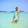 Happy young woman having fun in the sea Royalty Free Stock Photo