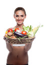 Happy young woman holding basket vegetable concept vegetarian dieting healthy food Royalty Free Stock Photography