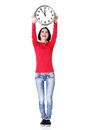 Happy young woman holding office clock Royalty Free Stock Photo