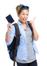 Happy young woman holding passport