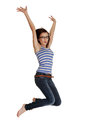 Happy young woman is jumping. Royalty Free Stock Photos