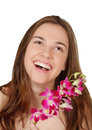 Happy young woman with orchids isolated on white clipping path Stock Photos