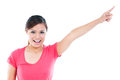 Happy Young Woman Pointing Royalty Free Stock Image