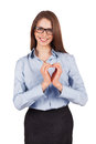 Happy young woman put her hands form heart Stock Photos