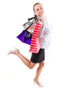 Happy young woman with shopping bags Stock Image