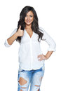 Happy young woman showing thumb up Stock Image