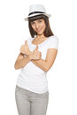 Happy young woman showing thumb up sign isolated on white background Royalty Free Stock Photos