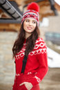 Happy young woman in ski cothes outdoors Royalty Free Stock Photo