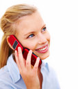 Happy young woman talking on cellphone Royalty Free Stock Photography
