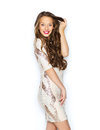 Happy young woman or teen girl in fancy dress Royalty Free Stock Photo