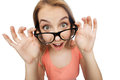 Happy young woman or teenage girl in eyeglasses Royalty Free Stock Photo