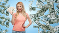 Happy young woman with usa dollar cash money Royalty Free Stock Photo