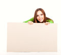 Happy young woman with white board Royalty Free Stock Photo
