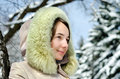 Happy young woman in winter outdoors Royalty Free Stock Images