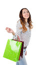 Happy young women with shopping bags woman isolated on white background Royalty Free Stock Image