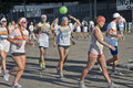 Happy youngsters cheerful italian at the color run marathon in milan san siro area Stock Image