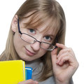 Happy younq blonde student girl cute young attractive holding colorful exercise books Royalty Free Stock Photo