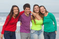 Happy youth group of at the beach Stock Image