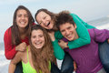 Happy youth group of at the beach Royalty Free Stock Photography