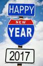 Hapy New Year 2017 on american roadsign