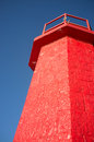Harbor beacon low angle take of a red at a entrance Stock Photography