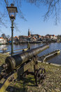 Harbor of Blokzijl with Canon Royalty Free Stock Photo