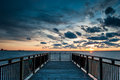Harbor Boardwalk at Sunset Royalty Free Stock Images