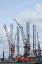 Harbor cranes Royalty Free Stock Photo