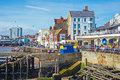 Harbor front at bridlington east yorkshire tourists and holidaymakers on the in late august Stock Photos