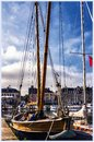 Harbor in Honfleur, Normandy, France . The boat.