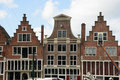 Harbor of Hoorn at the historic house facades, Province of North Royalty Free Stock Photo