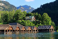 Harbor idyll of mountain lake Königssee with Cafe Malerwinkel Royalty Free Stock Photo