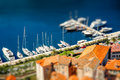 Harbor in kotor city with yachts and boats montenegro Royalty Free Stock Images