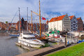 Harbor at motlawa river in gdansk old town of poland Stock Images