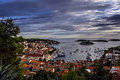 Harbor of old Adriatic island town Hvar at the sunset Royalty Free Stock Photo