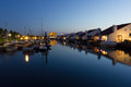 Harbor with swimming homes in the night simming motor yachts and sailing yachts Stock Photography