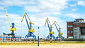 Harbor of wismar hansa town colorful cranes at the Stock Photo