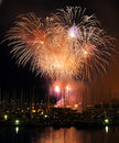Harborside fireworks Stock Photos