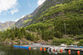 Harbour with boats on norway fjord at the dock in sognefjord s largest Royalty Free Stock Photos
