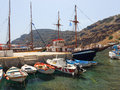 Harbour and boats at thirasia santorini the small on island greece europe Royalty Free Stock Images