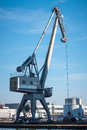 Harbour crane a heavy duty in the muenster Stock Photo