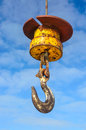 Harbour crane hook a large industrial lifting in whitby Royalty Free Stock Image