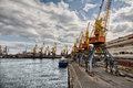 Harbour with cranes odessa ukraine Royalty Free Stock Images