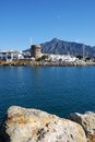 Harbour entrance, Puerto Banus, Marbella, Spain. Royalty Free Stock Photos