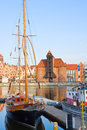 Harbour of gdansk with zuraw oldest crane poland Stock Images