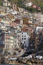 Harbour and Main street, Riomaggiore Stock Photos