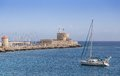 Harbour of old town rhodes in greece view Royalty Free Stock Image