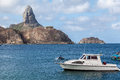 Harbour and pico hill fernando de noronha brazil the with its boats archipelag pernambuco Stock Photography