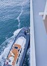 Harbour Pilot climbing onto ship Pilot Tender Royalty Free Stock Photos